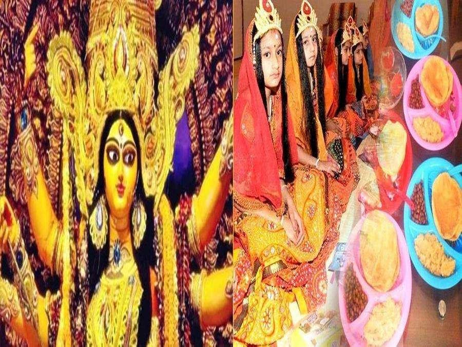 जयपुर: महानवमी पर कन्याओं और बटुकों का पूजन कर कराया गया भोजन